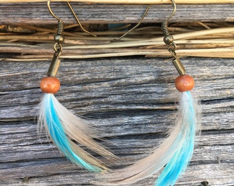 Festival Earrings | Feather Gift for Woman, Hippie Earrings, Turquoise Feathers, Tribal Feathers, Gift Under 20, Ecofriendly Gift, Bohemian