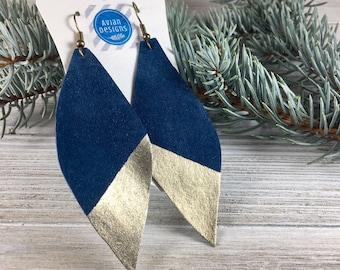 Best Jewelry Gift for Girlfriend | Best Boho Friend Gift, Girlfriend Blue Earrings, Mom Blue Earrings, Girlfriend Gold Earrings, Boho Gift