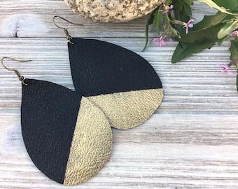 Boho Gold Earrings | Gold Earrings Boho, Best Jewelry Gift for Wife, Gold Dipped Black, Joanna Gaines Inspired, Gold Teardrop Earrings