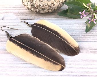 Bohemian Feather | Music Festival, Cruelty-free, Boho Black Earrings, Black Earrings Feathers, Music Festival Wear, Feather Earrings