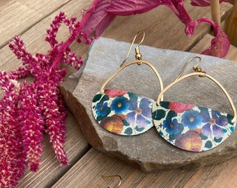 Flower half circle vintage tin earrings, 10th anniversary gift for wife