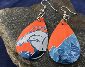 Denver Broncos Earrings, Football Fan, Upcycled Beer Cans, Super Bowl Gift, Perfect Christmas Present