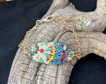 Colorful Mosaic Vintage Tin Bracelet, Classic Jewelry, Gift for Her