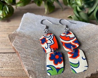 Floral design repurposed vintage tin earrings, red and blue flowers, gift for mom, Mother's Day