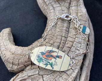 Baltimore Oriole Bird Vintage Tin Bracelet, Antique Collector, Gift for Bird Lover