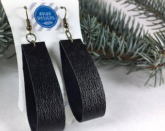 Earrings for Her Black | Black Hoop Earrings, Wife Black Earrings, Large Hoop Earrings, Mom Black Earrings, Leather Black Earrings, Bohemian