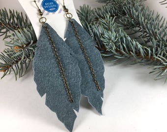 Wife Blue Earrings | Earrings for Friend, Boho Jewelry Wife, Leaf Earrings for Women, Leather Earrings, Boho Jewelry, Festival Earrings