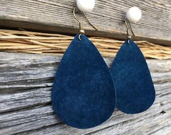 Blue Suede Earrings | Eco-friendly Jewelry, Joanna Gaines Inspired, Gaines Inspired, Leather Teardrops, Teardrop Earrings, Bohemian Friend