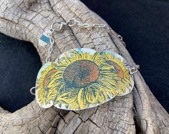 Vintage Sunflower Tin Bracelet, Vintage Collector, Sunflower Lover, Flower Child