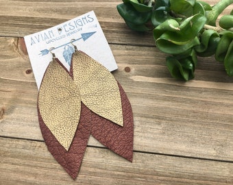 Faux Leather Earrings, Trending Boho Jewelry, Gift for Hippie Wife, Made with Recycled Materials, Faux Leather Feather Earrings, Gold Boho
