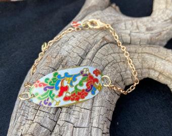 Colorful Floral Vintage Tin Bracelet