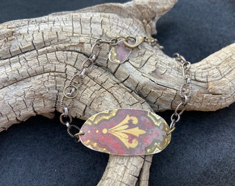 Bronze and gold vintage tin bracelet, Hostess Fruit Cake Tin, Christmas present for her