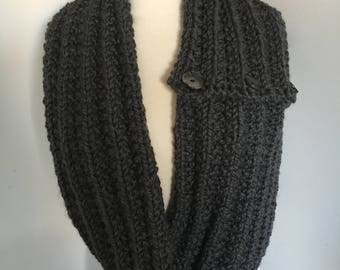 Hand Knitted Bulky Soft & CozyGrey 4 Button Long Scarf