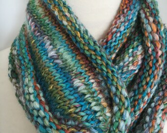 Knit Infinity Scarf Soft Blue Tweed Multi Textured Handmade Accessories Ready To Ship