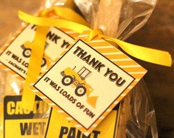 Construction Birthday Party Favor Tag Goodie Bag Tags Thank You DIY Idea Creative Theme