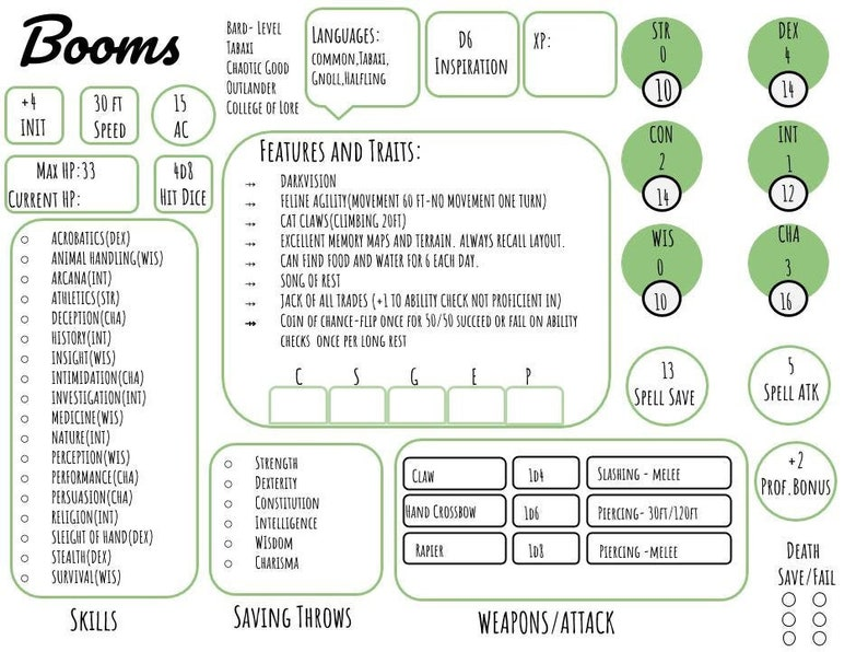 Custom DND character info sheet multi color simple tabletop dungeons and  dragons Digital Download