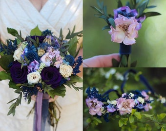 Purple bouquet etsy plum purple bridal bouquet purple wedding bouquet purple bridesmaid corsage wristlet purple boutonnire plum wedding flowers mightylinksfo
