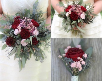 Bridesmaid bouquets etsy burgundy and blush pink bridal bouquet bridesmaid bouquet burgundy rose boutonnire burgundy and pink the salina belle collection mightylinksfo