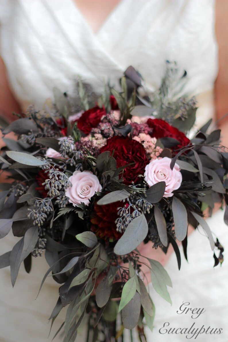 Blush Bouquet The Salina Belle Collection Blush and Burgundy Bouquet Dried Flower Wedding Bouquet Burgundy Bouquet Pink Bouquet