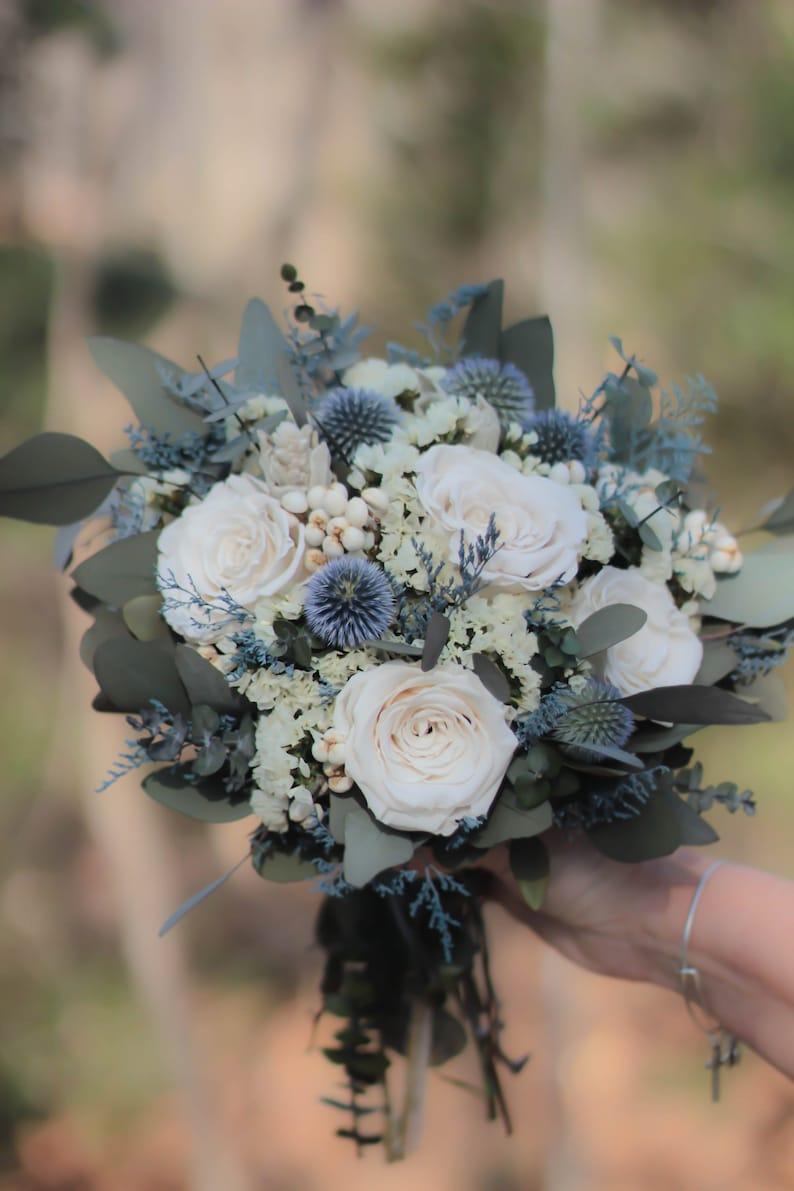Dusty Blue Bouquet Blue and Gray Bouquet Blue Bouquet image 4
