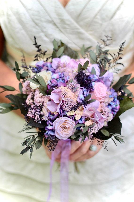 Pink Bouquet Purple Bouquet Dried Flower Bouquet Bridal Etsy