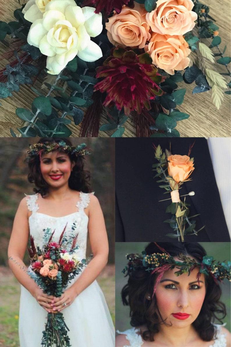 Peach and Burgundy Boho Wedding Bouquet  Pampas Style Bouquet image 0