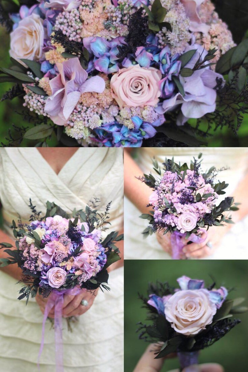 Bouquet Dried Flower Bouquet Purple Bouquet Blush Etsy