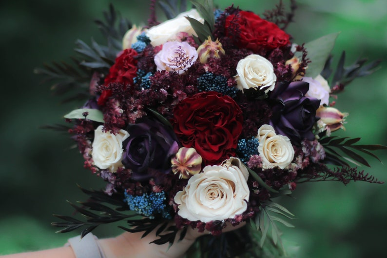 The Madelyn Collection Bridal Bouquet Burgundy Bouquet Plum Bouquet Navy Bouquet Fall Bouquet Burgundy Navy Dried Flower Bouquet