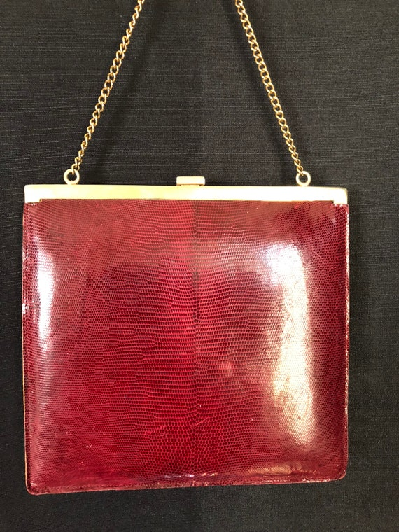 Vintage 1940's Red Snakeskin Purse Handbag/Clutch