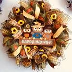 Fall owl wreath, door decoration, gift, custom wreath, front door, best door wreath, home decor, autumn, brown, gold, sunflower, pumpkin