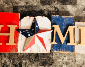 Wreath starter Home, red, white, blue with flag star