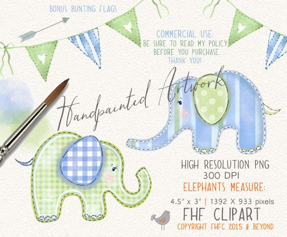 Elephant Digital Clip Art Blue Green Elephant Bunting ...