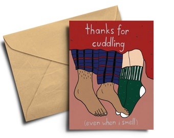 Thanks For Cuddling cute romantic Greeting Card