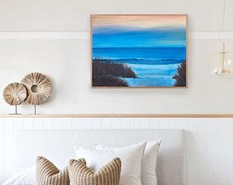 ORIGINAL: Twilight Reeds Seascape Acrylic Painting