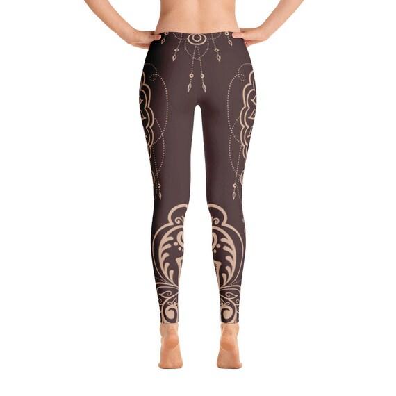 Yoga Pants Womens Leggings Boho Print Leggings Bohemian  Printed Leggings festival leggings Forest Sprite Womens Brown Leggings