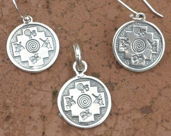 3ee16e4d Silver Chakana Pendant with Nazca Lines and Spiral Pachamama
