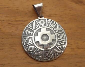 Silver Reversible Inka Symbols Pendant