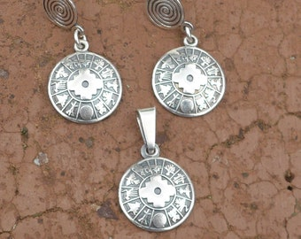 0481d5a2 Silver Chakana Pendant with Nazca Lines