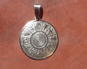 1df5b7eb Silver Spiral Pendant with Nazca Lines