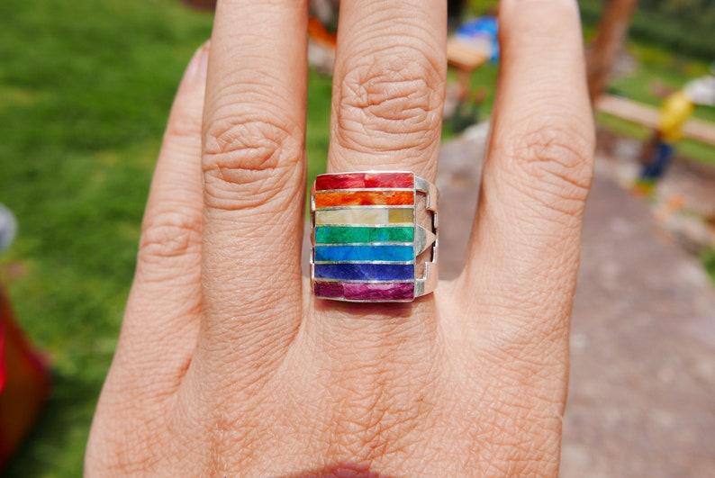 Big Chakra Stones Silver Ring