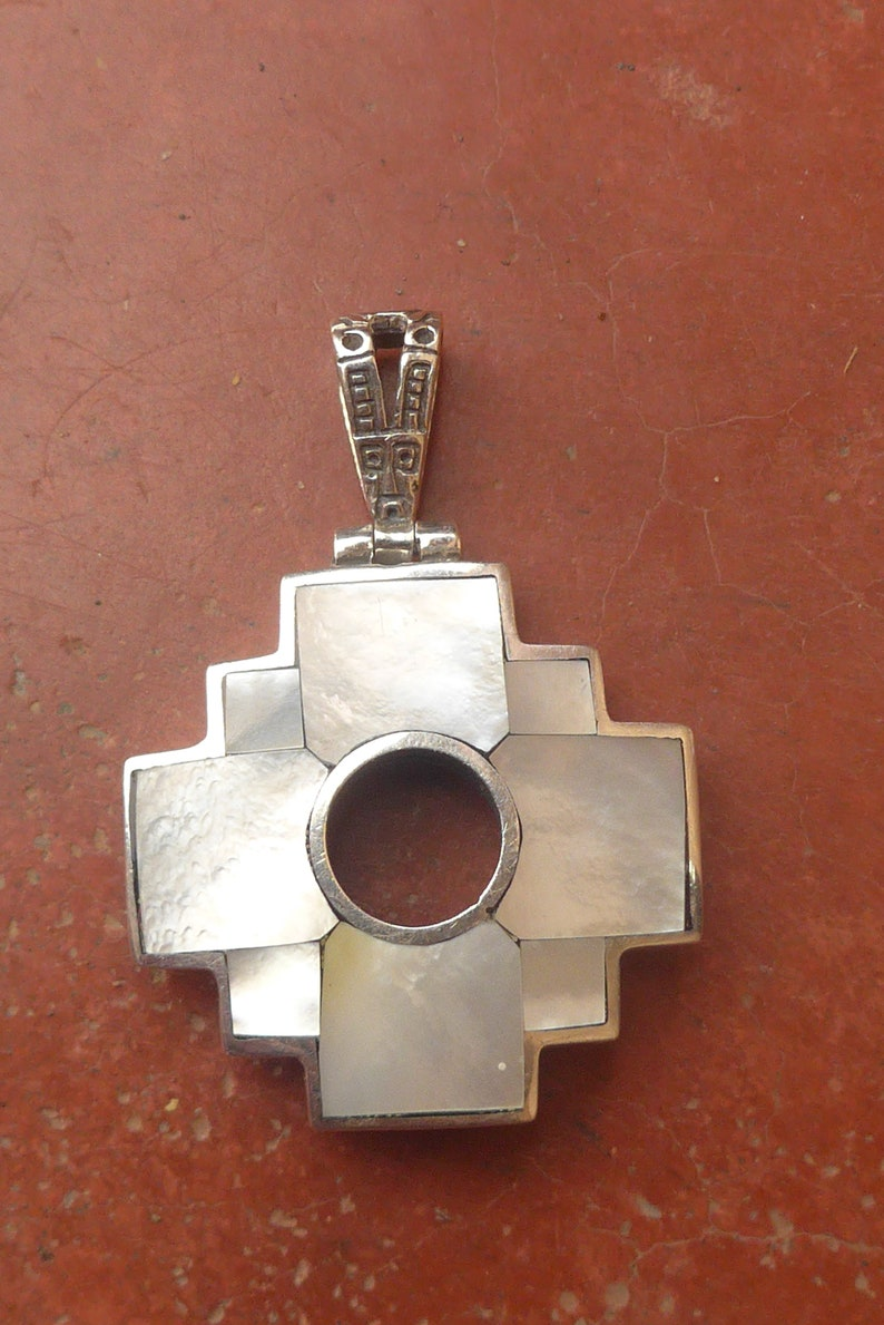 Big Reversible White Mother of Pearl Chakana Pendant with Inca History on the back