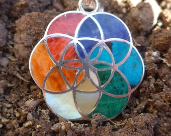 Flower of Life Silver Pendant with natural quartz