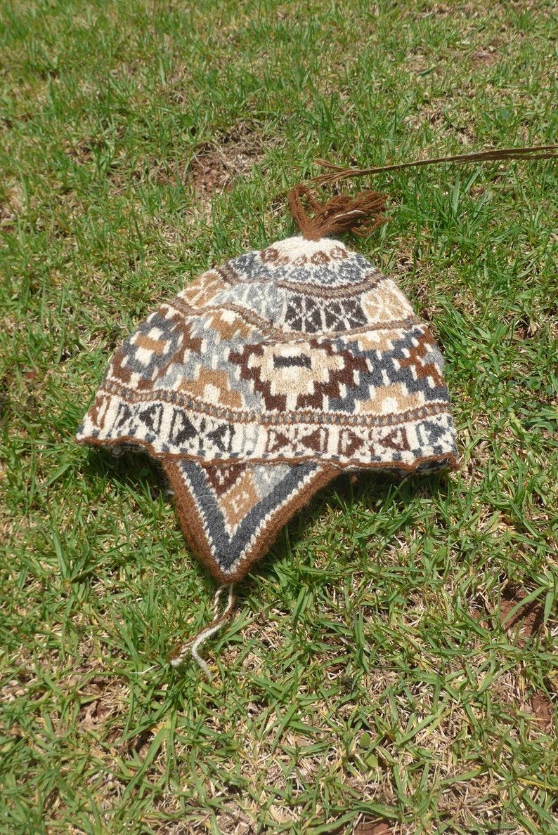 Earthy Alpaca Wool Winter Beanie with Chakana