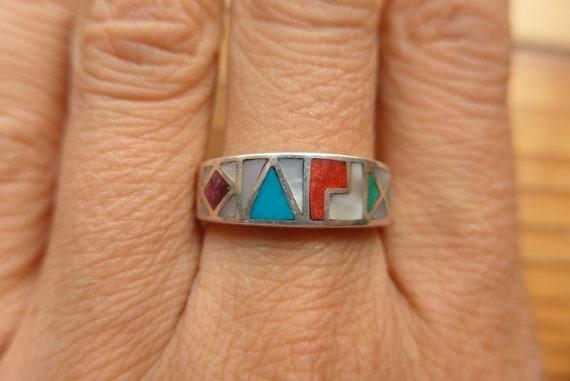 Silver Inka Symbols Ring Size US 8