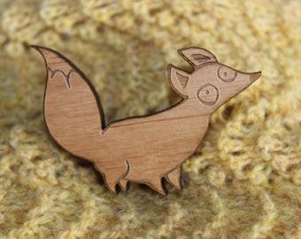 Fox Wooden Brooch, Made in Orkney, Scotland