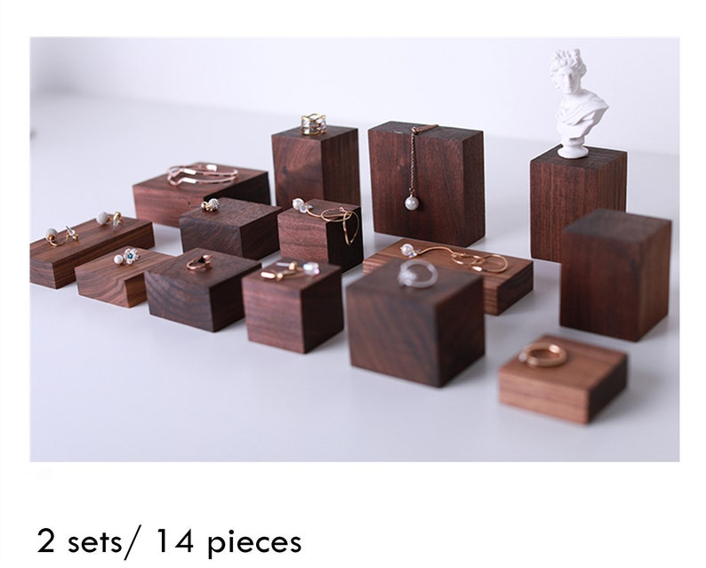 7 pieces jewelry organizer ring display jewelry display stand jewelry packaging set of wood jewelry display earring holder #598