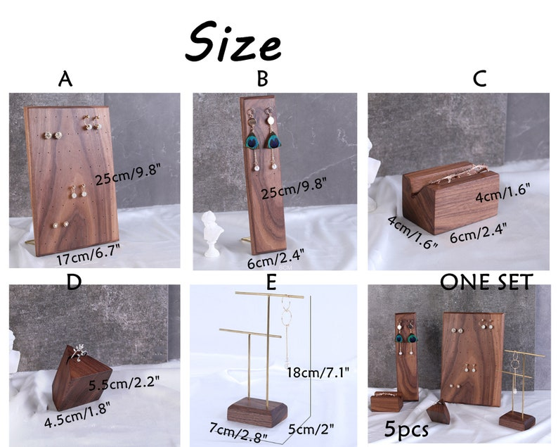 walnut jewelry organizer necklace stand #527 store display wood stand ring display earring holder earring organizer