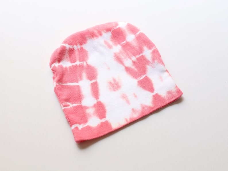 Cap Set in Hibiscus Pink tie-dye tie-dyed short-sleeved romper One Piece for babies at 3 months shibori baby shower gift set