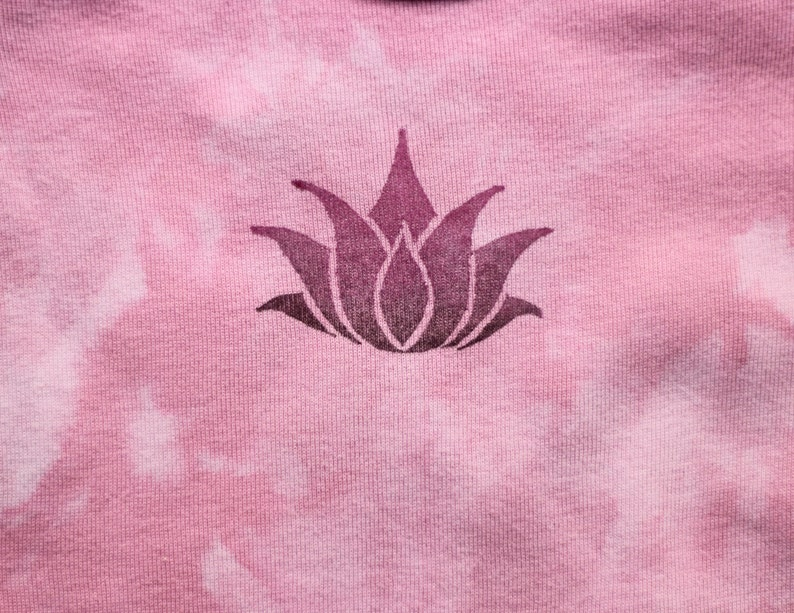12 month: Pink Lotus Baby Tee hand dyed and stamped t-shirt for one year old Long Sleeve first birthday gift