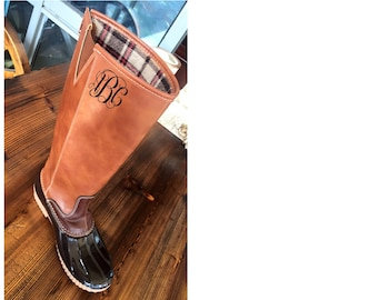 Personalized tall duck boots